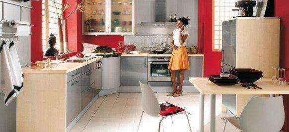 Красные кухни в интерьере
