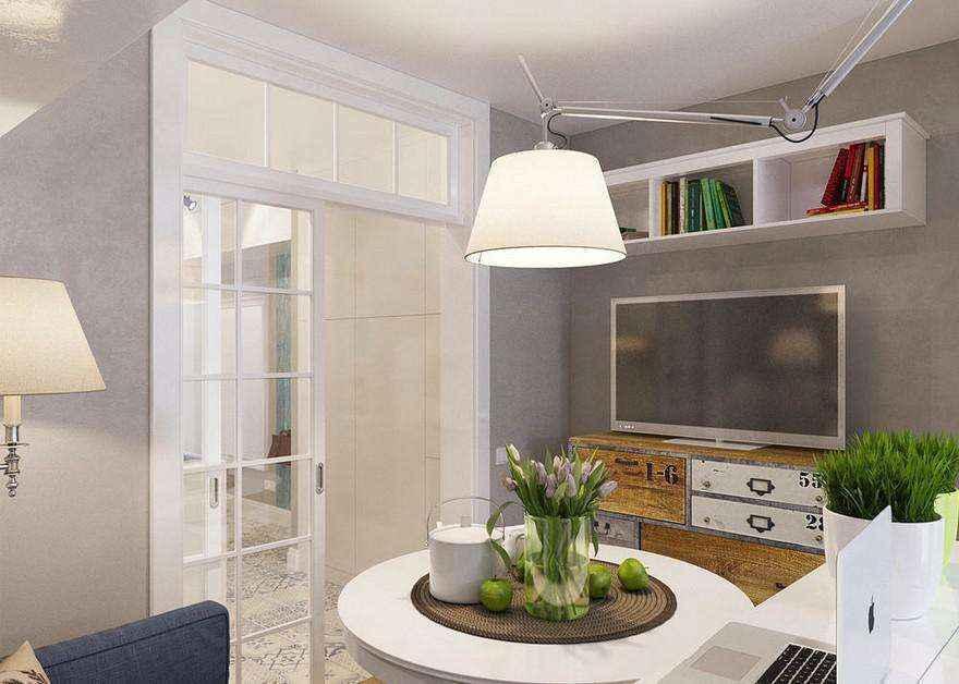 0-light-grayish-blue-studio-apartment-interior-design-in-modern-style-living-room-lounge-area-round-dining-table-pendant-lamp-flexible-arm-rod-chest-of-drawers-tv-set-floor-lamp-book-shelves