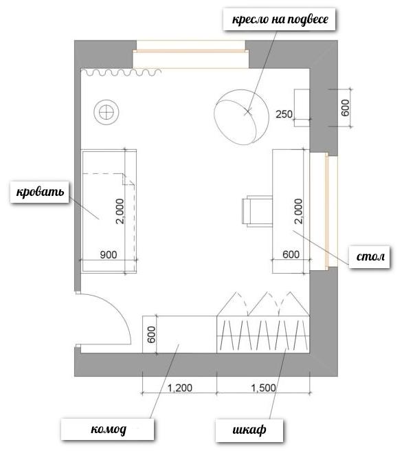 1-school-girls-kids-room-interior-plan-scheme-zoning-two-windows-17-square-meters-rectangular-room-desk-bed-wardrobe-chest-of-drawers-ceiling-swing-chair-ru