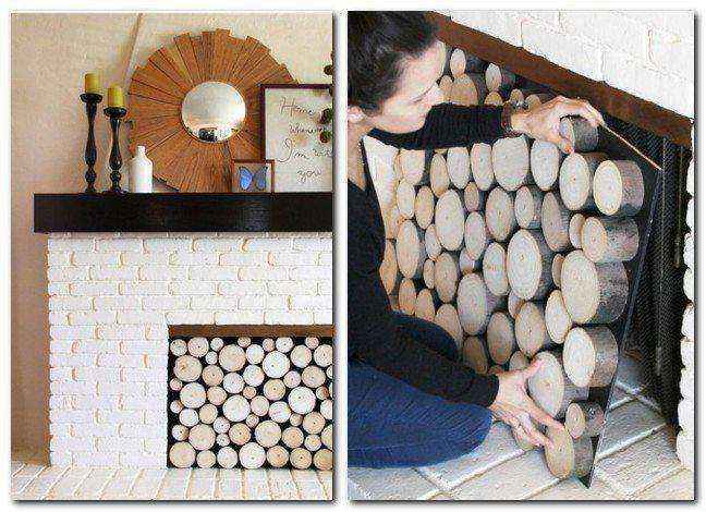 2-2-handmade-faux-brick-wall-tiles-facing-white-painted-wood-cross-sections-tree-cut-home-decor-interior-faux-fireplace-ideas