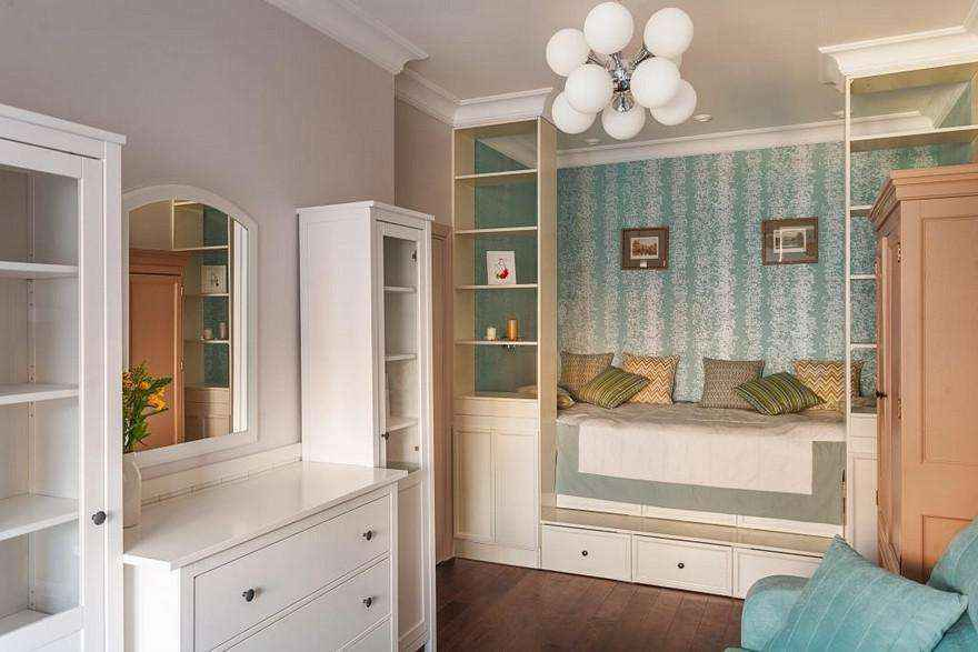2-2-podium-bed-platform-in-interior-design-peppermint-blue-and-white-girls-room-bedroom-white-furniture-see-through-shelves-chest-of-drawers-sofa-many-storage-areas