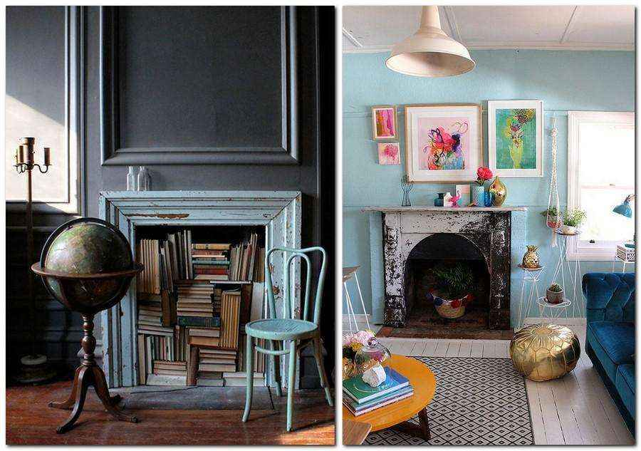 2-3-handmade-vintage-style-blue-aged-wooden-surround-planks-books-storage-faux-fireplace-ideas