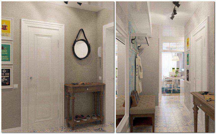2-light-grayish-blue-studio-apartment-interior-design-in-modern-style-hallway-entrance-hall-console-table-shoe-bench-coat-rack-round-mirror-white-entrance-door-track-lights