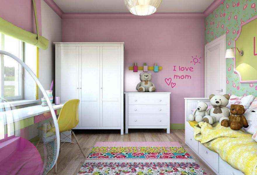2-light-pink-school-girls-kids-room-interior-with-yellow-accents-white-furniture-wardrobe-chest-of-drawers-carpet-bed-desk-study-area-carpet-roman-blinds