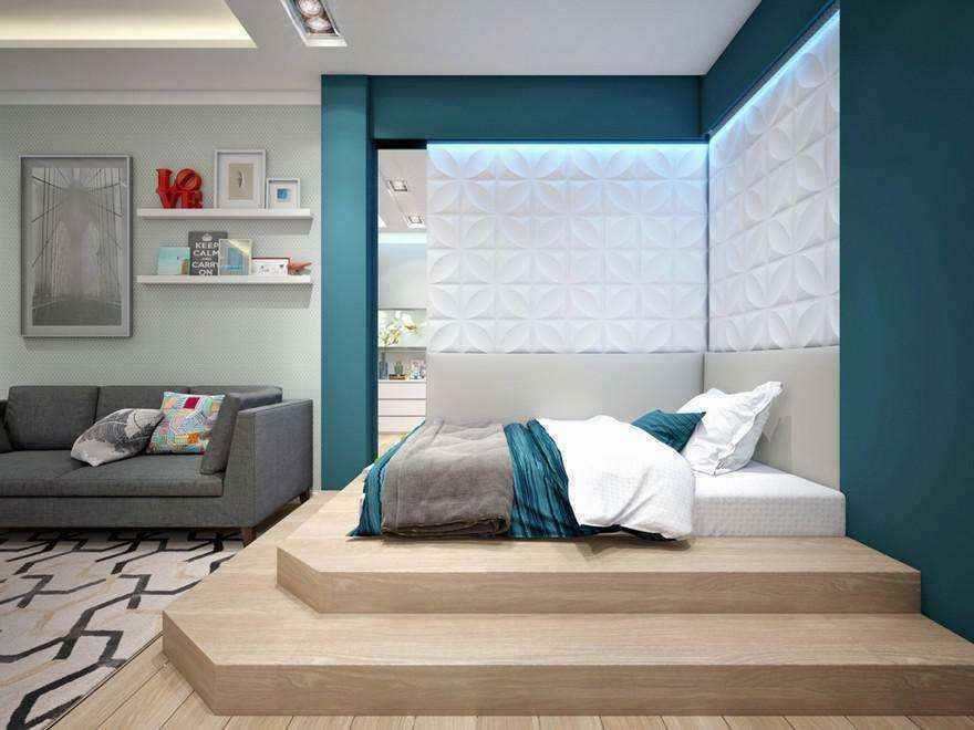3-2-podium-bed-in-interior-design-contemporary-style-bedroom-light-gray-and-blue-geometrical-motifs-carpet-sofa-3d-wall-panels