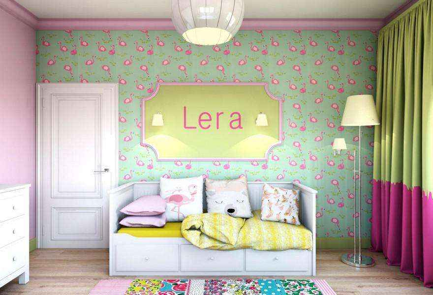 3-light-pink-school-girls-kids-room-interior-with-yellow-accents-flamingo-wallpaper-green-white-furniture-door-floor-lamp-sleeping-area-carpet-sconces-chest-of-drawers