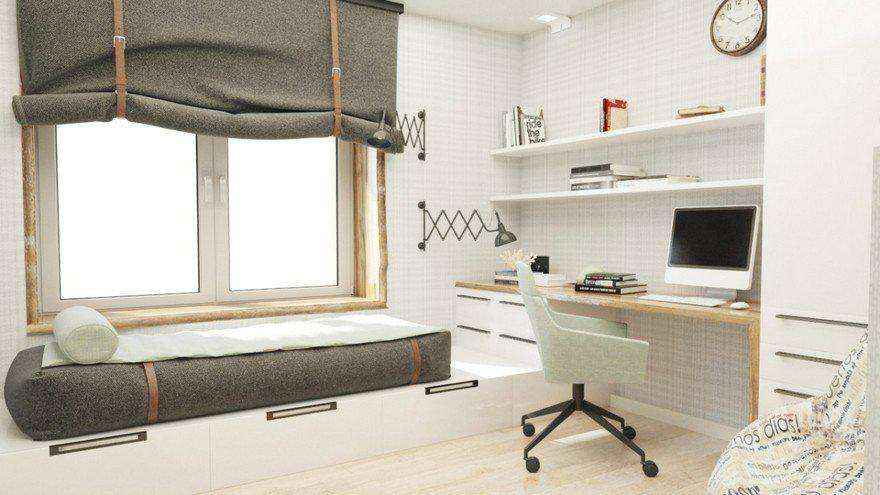 4-1-podium-bed-platform-in-interior-design-teenage-boy-bedroom-light-gray-brown-white-walls-work-study-area-desk-mattress-roman-blinds-sleeping-area-by-the-window-built-in-shelves