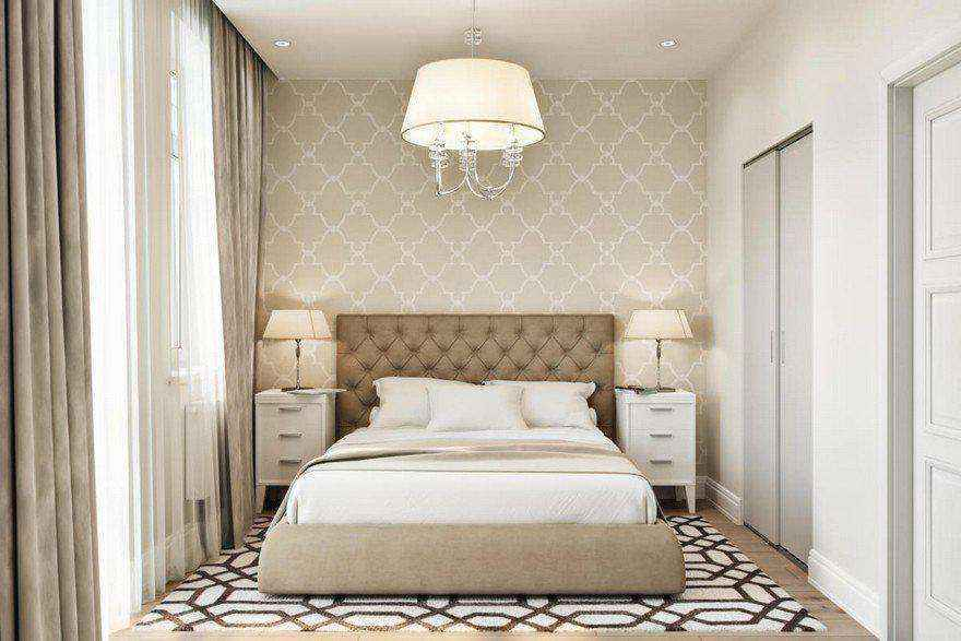 4-2-modern-light-scandinavian-style-interior-bedroom-beige-white-gray-capitone-bed-geometrical-wallpaper-rug-carpet-nightstands-bedside-lamps-upholstered-bed-walk-in-closet