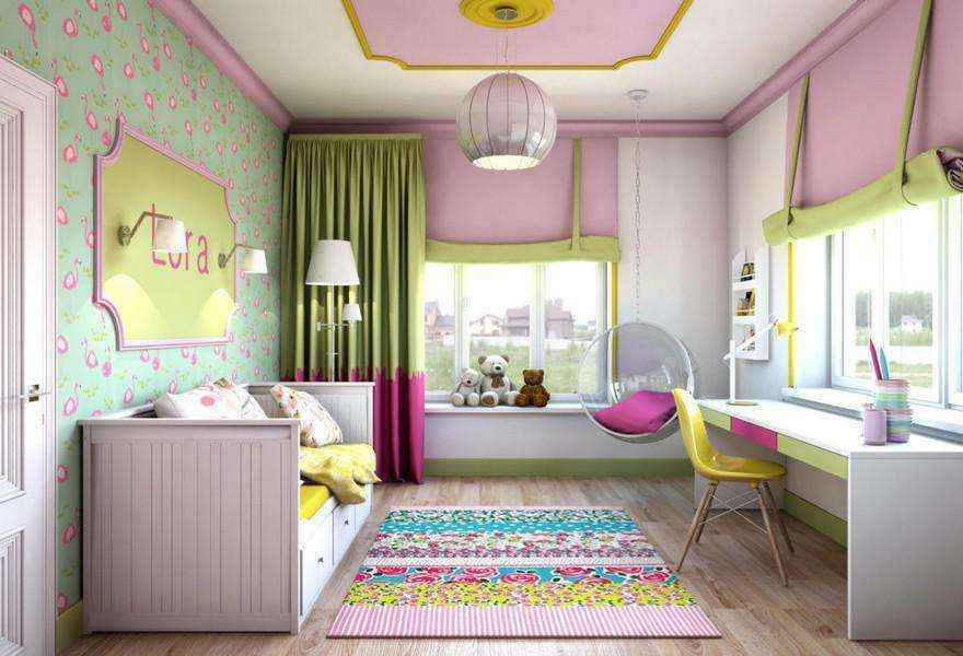 4-light-pink-school-girls-kids-room-interior-with-yellow-accents-white-furniture-desk-bed-carpet-two-windows-roman-blinds-ceiling-swing-chair-moldings