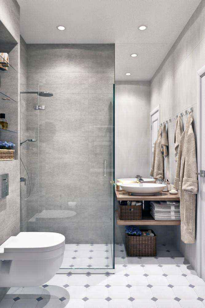 5-2-modern-light-gray-and-white-scandinavian-style-interior-bathroom-walk-in-glass-shower-cabin-wall-mounted-toilet-wc-wooden-countertop-wicker-baskets-robes-top-mounted-sink-wash-basin