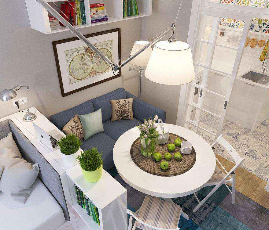 7-2-light-grayish-blue-studio-apartment-interior-design-in-modern-style-living-room-with-bed-sleeping-area-functional-zones-dining-area-round-table-folding-chairs-ikea-shelving-unit-pendant-lamp-arm