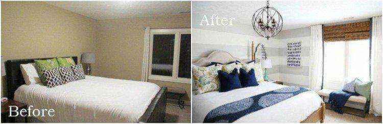 Используйте большие серые горизонтальные полосы для удлинения стены