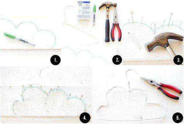 Как своими руками сделать очаровательную вешалку-облако