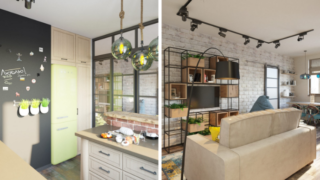 Идея дизайна двухкомнатной квартиры площадью 44 кв. м.
