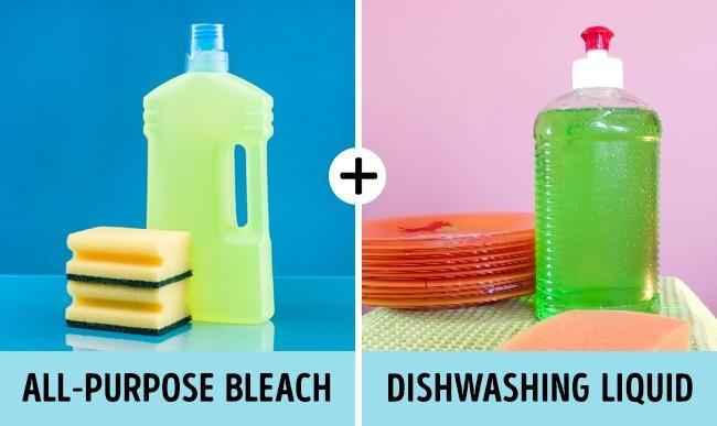 отбеливатель и жидкость для мытья посуды