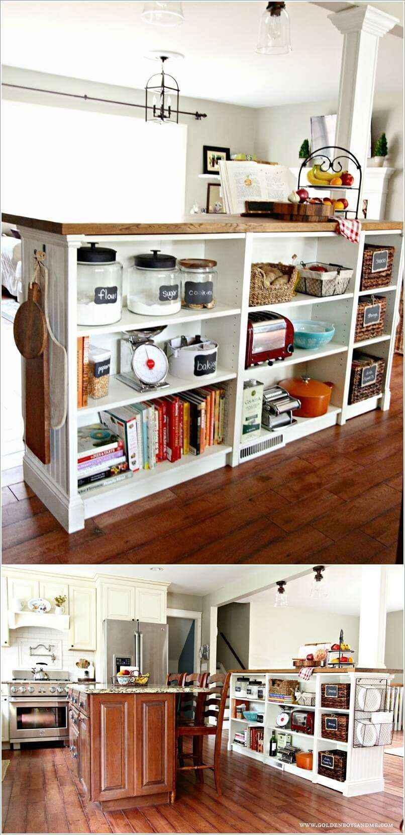 10 способов переделки книжного шкафа в кухонный