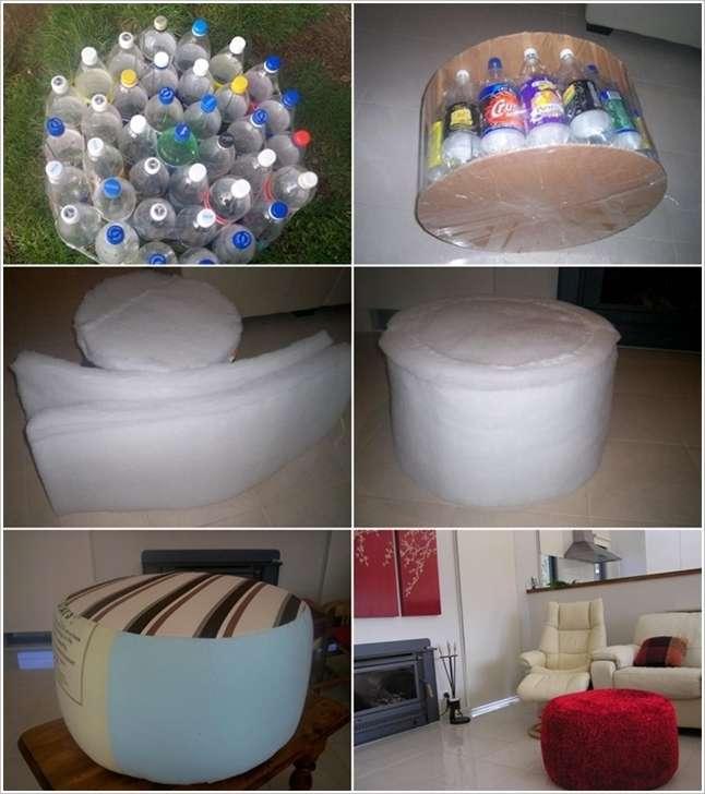 Делаем пуфики из пустых пластиковых бутылок