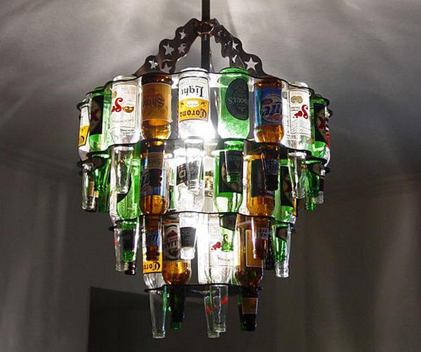 25 идей потрясающих люстр из бутылок