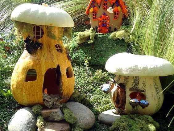 Очаровательные домики фей из тыквы 10 | Дока-Мастер