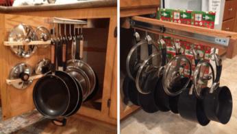 Как хранить сковороды с кастрюлями не занимая полезное пространство 16 | Дока-Мастер