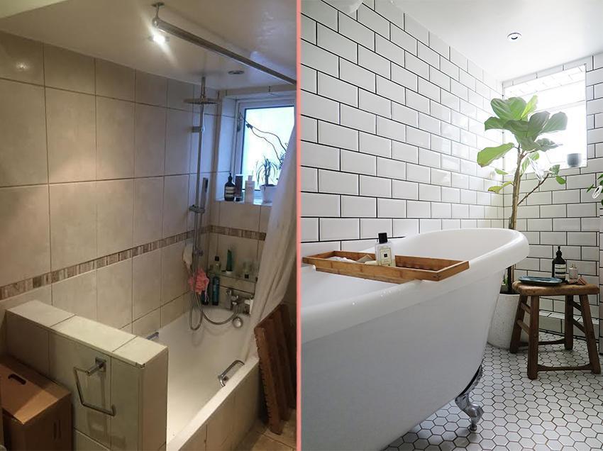Превращение бежевой ванной, в ванную в скандинавском стиле 01