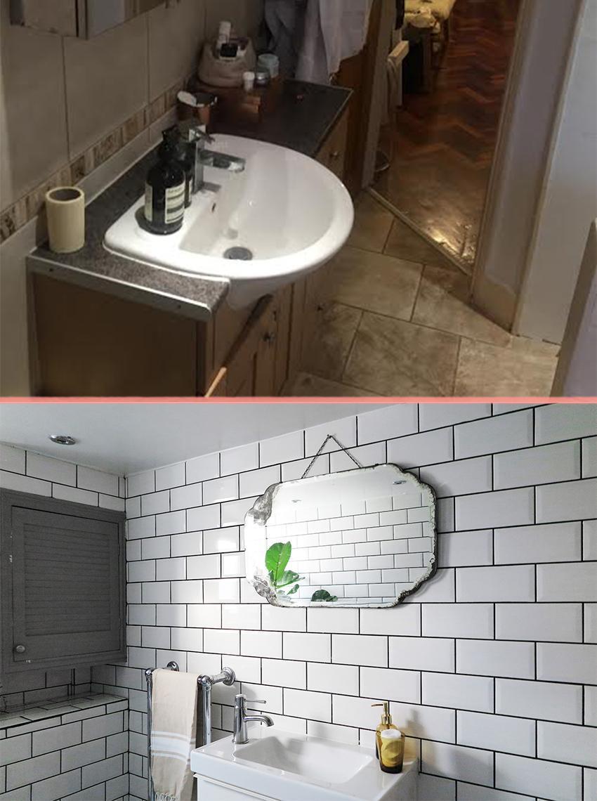 Превращение бежевой ванной, в ванную в скандинавском стиле 06