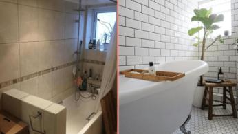 Превращение бежевой ванной, в ванную в скандинавском стиле 1 | Дока-Мастер