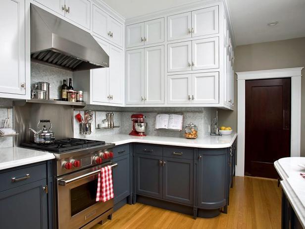 Идеи двухцветных шкафов для кухни 5 | Дока-Мастер
