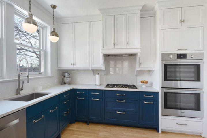 Идеи двухцветных шкафов для кухни 6 | Дока-Мастер