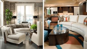 Как правильно обустроить гостиную с изогнутым диваном 2 | Дока-Мастер