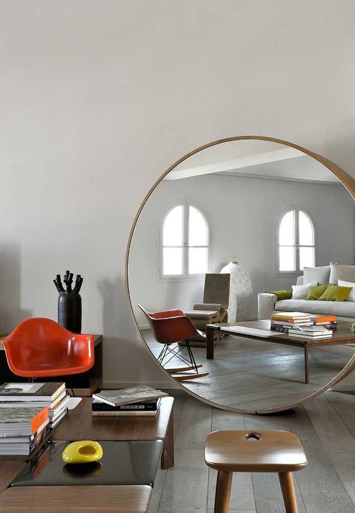 Круглое зеркало в интерьере, как использовать в декоре 07