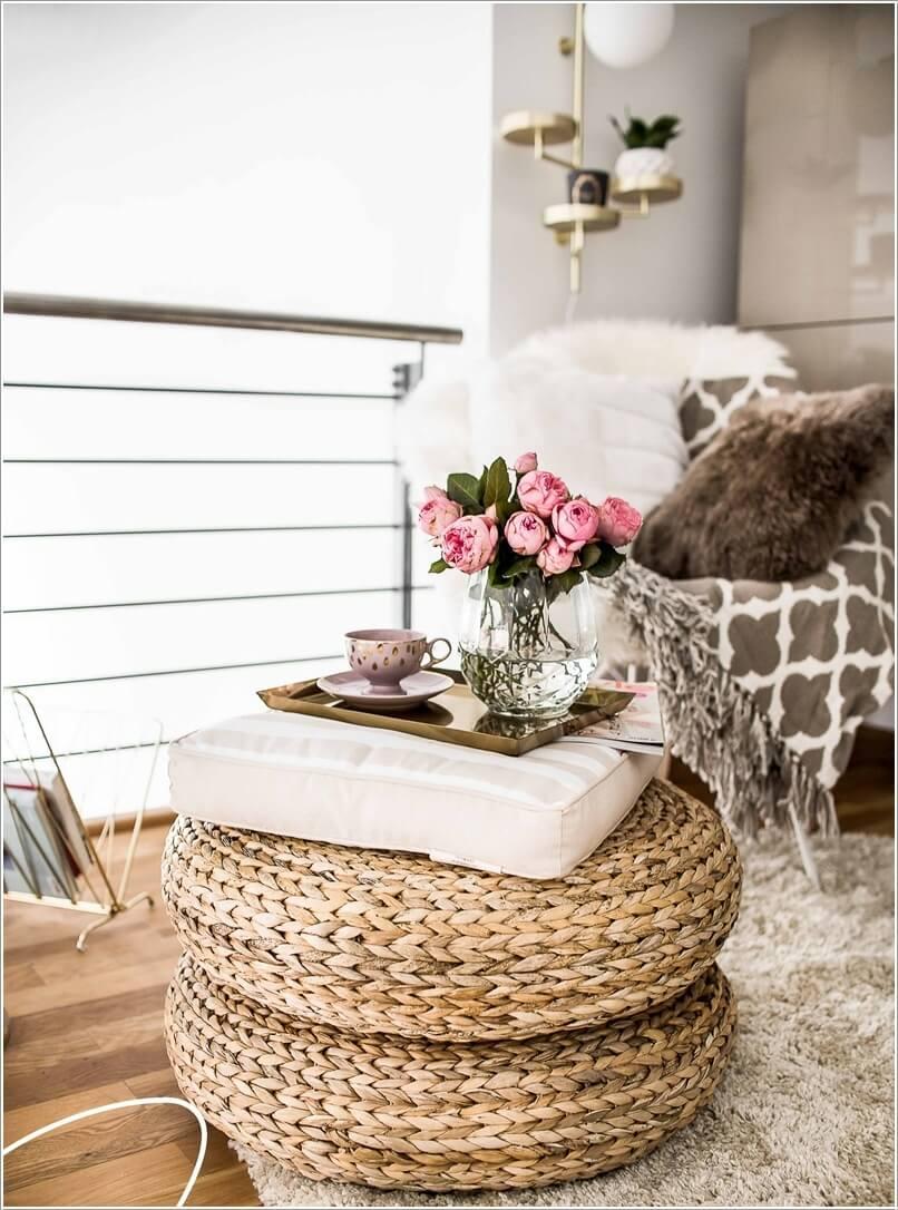 Как украсить дом плетеными пуфиками 5 | Дока-Мастер