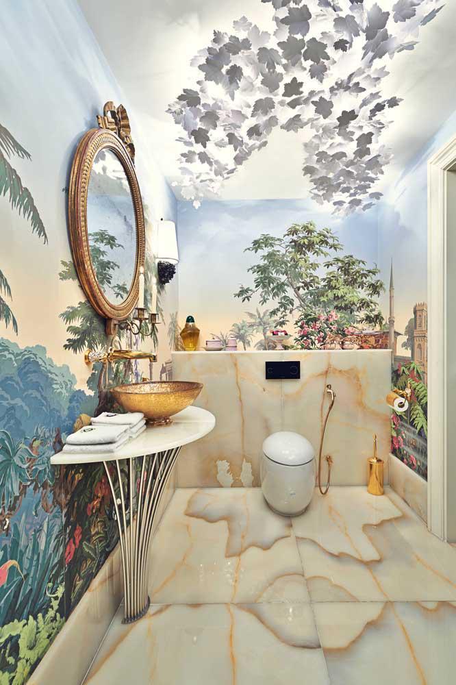 60 идей обоев в туалет 54   Дока-Мастер