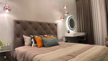 Кровать в спальную комнату с мягким изголовьем и обивкой 6 | Дока-Мастер