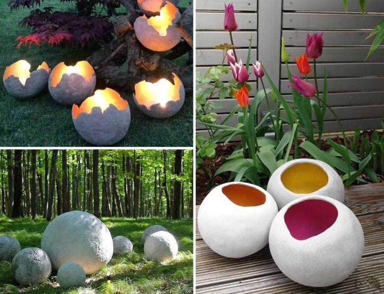 Как оригинально украсить сад с помощью шаров из бетона 1 | Дока-Мастер
